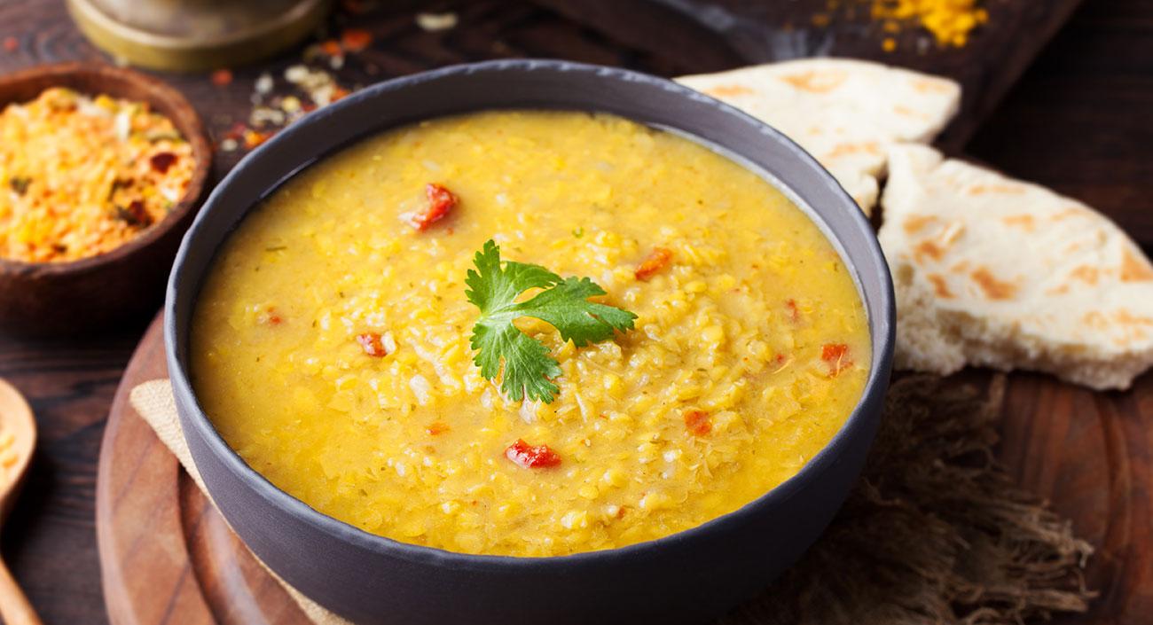 Soupe de dal piquante aux épinards